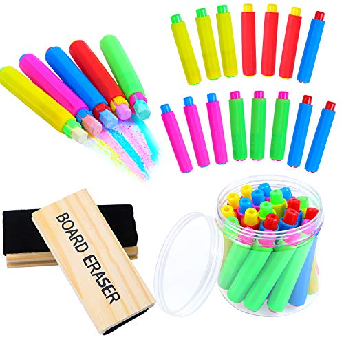 Ruisita 20 Pieces Plastic Chalk Holder Adjustable Colored Chalk Clip with Round Case and 2 Pack Chalkboard Erasers Blackboard Eraser for Home, Office and School, No Chalk