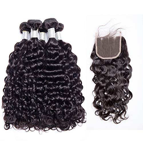 Maxine 10A Malaysian Water Wave 100% Uprocessed Virgin Human Hair 3 Bundles with Three Part Closure Unprocessed Virgin Hair Weave with Closure 4x4 Lac