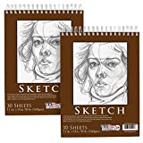 U.S. Art Supply 11' x 14' Premium Heavy-Weight Paper Spiral Bound Sketch Pad, 90 Pound (160gsm), Pad of 30-Sheets (Pack of 2 Pads)