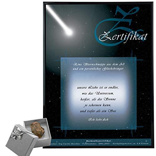 Sternschnuppe kaufen (Stein 4-6 g, ohne Personalsierung) - Meteoriten mit personalisiertem Echtheits-Zertifikat Hier als Romantisches Geschenk bestellen - Persönliche Geschenkideen Freund + Freundin