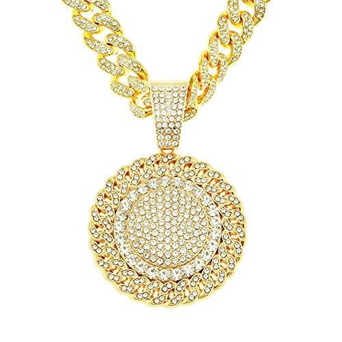 RXSHOUSH Hiphop Collar con colgante de flor de sol Circón 50 cm de oro/plata cubana cadena hombres y mujeres pareja joyería collar colgante oro