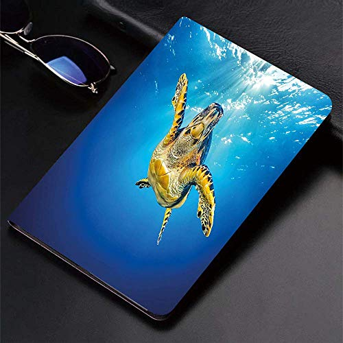 Case for iPad (9.7-Inch, 2018/2017 Model, 6th/5th Generation)Ultra Slim Lightweight Smart Cover,Turtle,Eretmochelys Imbricata Swimming in Blue Waters Sun Rays Oceanic Wild,Smart Covers Auto Wake/Sleep