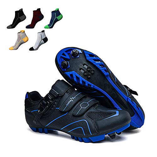 UYBAG Adults' Cycling Spinning Shoe Men's Breathable Mountain Bike Shoes Professional Triathlon Racing Shoes with 5 Pairs Sports Socks and Velcro Strap The Best Choice for Beginners,37