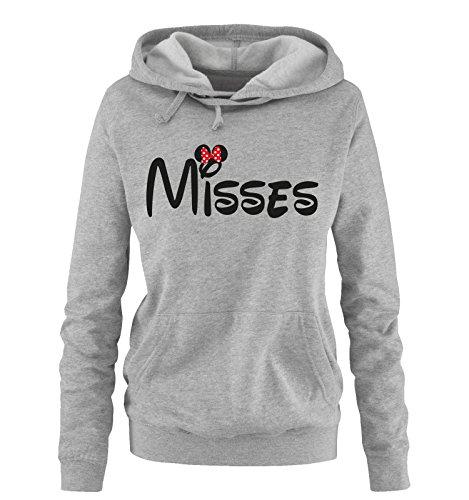 Comedy Shirts - Misses - Minnie - Damen Hoodie - Grau / Schwarz-Rot Gr. L