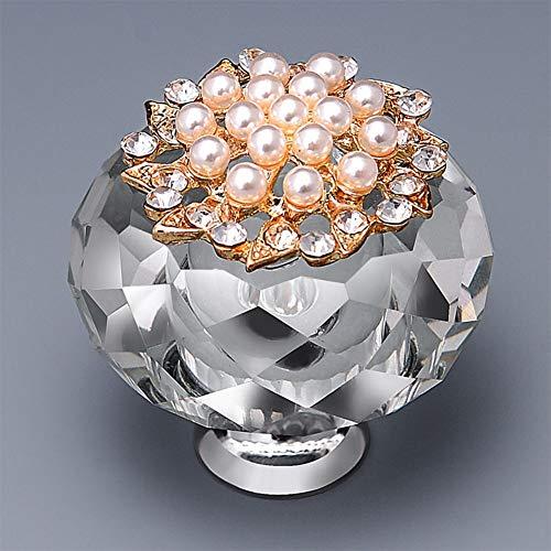 LanLan 40 mm luxe kristallen deurgrepen van zinklegering, handvat voor kast, ladekast, garderobe, keuken