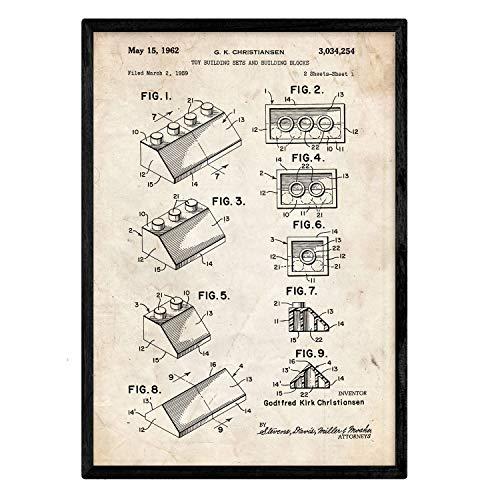 Nacnic Poster con Patente de Lego. Lámina con diseño de Patente Antigua en tamaño A3 y con Fondo Vintage