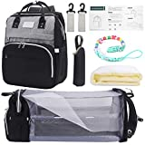 Waterproof Crib Diaper Bag Backpack,Waterproof Travel Bassinet Foldable Baby Bed with Changing Station for Travel Bed Diaper Pad Stroller Organizer (Black+Grey)
