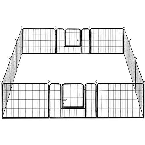 Yaheetech 12 eckig Welpenauslauf Freilaufgehege Freigehege Außen Garten Tierlaufstall mit Tür 80x60 cm