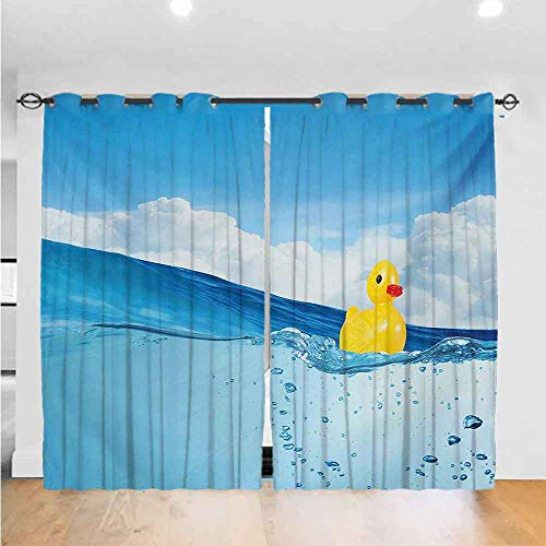 Best Buy! Mozenou Rubber Duck Bedroom Curtains Little Duckling Toy Swimming in Pond Pool Sea Sunny ...