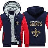 Sweat À Capuche NFL Football Américain New Orleans Saints Jersey Pull Plus Velvet Rugby T-Shirt À Manches Longues Imprimer Capuche Décontracté Et Confortable Gros Pull,D,6XL
