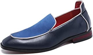 HaiNing Zheng Classic Business Oxford for Men Stitch Leisure Dress Shoes Slip on Genuine Leather Flat Heel Lightweight Anti-Slip Wear Resistant (Color : Blue, Size : 10 UK)
