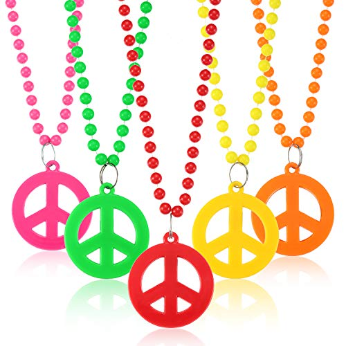 Tatuo 12 Pieces Plastic Peace Sign Pendant Necklace Hippie Necklace Party Beaded Necklace for 60's 70's Costume Jewelry Accessory