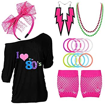 80s Outfits Costume Accessories for Women - I Love 80 s Print Off Shoulder T-Shirt,Lace Headband Necklace Bracelet Gloves for 80s Costumes,Hot Pink,XL