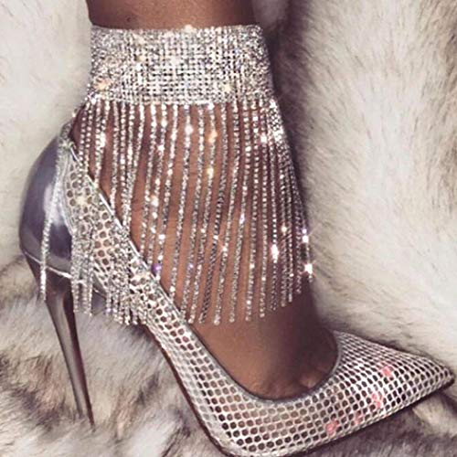 Masiter Rhinestone Ankle Bracelets Crystal Tassel Anklet 2Pcs Glitter Tennis Foot Chain Wedding Body Jewelry Accessories for Women and Girls