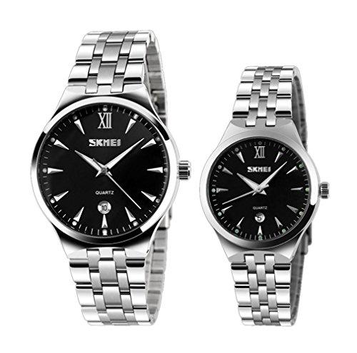 muñeca esfera de color negro de los hombres únicos de la moda y relojes de las mujeres con el reloj del calendario de par (juego de 2)