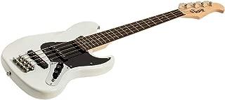 Monoprice Indio Mini Jamm Electric Bass - White, With Gig Bag