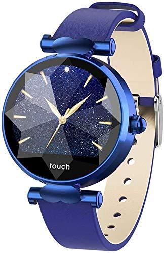 WJFQ Sportuhr Fitness Armbanduhr Arbeiten Sie intelligente Armband Wasserdicht Fitness Tracker mit Herzfrequenz-Schlaf-Blutdruckmessgerät for IOS Android (Color : Blue)