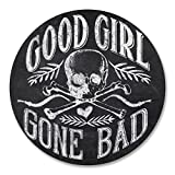 2 x 10cm Good Girl Gone Bad Vinyl Sticker Decal Girls Skull Biker Chic Fun #6209