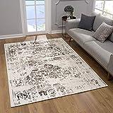 SANAT Teppich Vintage - Modern Teppiche für Wohnzimmer, Kurzflor Teppich in Braun-Creme, Öko-Tex 100 Zertifiziert, Größe: 200x290 cm