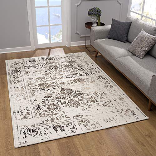 SANAT Teppich Vintage - Modern Teppiche für Wohnzimmer, Kurzflor Teppich in Braun-Creme, Öko-Tex 100 Zertifiziert, Größe: 80x150 cm