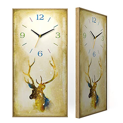 Reloj de jardín, Reloj de Pared de Ciervo, Pintura Decorativa para Interiores, Reloj de Pared silencioso, 11,8 x 23,6 Pulgadas, Reloj de Pared de Estilo Moderno, Sala de Estar, Dorm