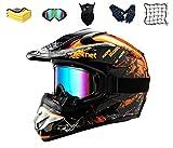 Casco de Motocross, Casco MX, Casco de Motocicleta, ATV, con Gafas/máscara/Guantes, para Casco de Motocicleta Quad ATV Enduro, certificación Dot (M)