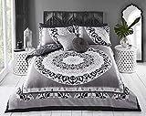 Sleepdown - Set di biancheria da letto matrimoniale e federe, reversibile, in cotone, grigio