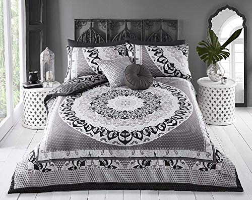 Sleepdown Reversible King Size Duvet Cover Set. Easy Care And Super Soft Cotton Design. Black and Grey Paisley Pattern quilt. Size 220x230 cm + 2 matching pillowcase.
