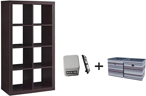 Better Homes And Gardens 8 Cube Organizer Creates Multiple Storage Solutions Horizontal Or Vertical Display In Espresso Finish With Bins Included