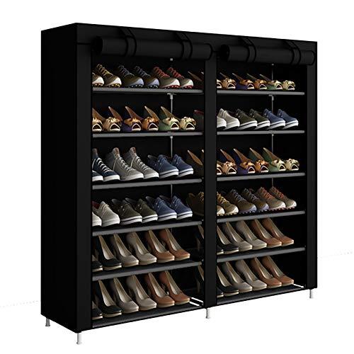 ACCSTORE Schuhregal 6-stufige Schuhablage Platz für bis zu 36 Paar Schuhe mit Nicht gewebtem Stoffbezug,Schwarz