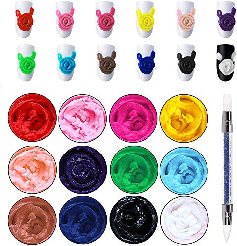 Ownest 12 Colors Sculpture Carved Nail Gel Set, 3D Nail Carved Gel Sculpture Creative Painting Glue Soak off UV, Carve Patterns UV Gel with 1 Carved Painting Pen-5g