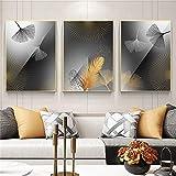 Lienzo Decoración de pared Pintura Tríptico moderno y simple Hoja de ginkgo Cartel de atmósfera de lujo nórdico Sala de estar Decoración del hogar 70x105cm (27.56x41.34in) x3 Sin marco