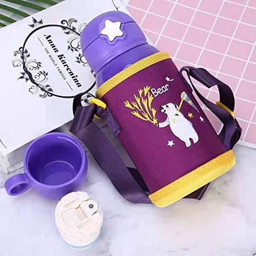 Stroh-Typ Anti-Sturz Kinder Edelstahl Mehrzweck-Isolierbecher kann für Kinder ab 5 Jahren verwendet werden, Eisbär Lila, 550 ml