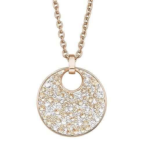 S.Oliver Damen Kette mit Anhänger Edelstahl IP Rosegold Swarovski Kristalle 72+5 cm