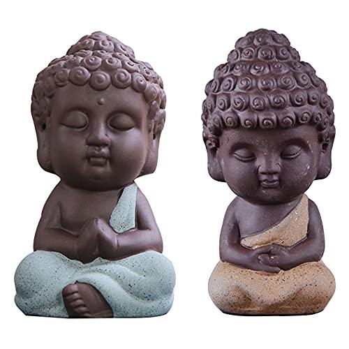 Adorno De Té Escultura De Pequeño Monje Mini Monje Figura Estatua Buda Estatua Pequeña Estatuilla De Buda Cerámica Monje Monje Pequeño Figura De Buda De Cerámica Escultura para Decoración Feng Shui