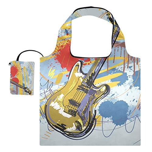 Bolsos de compras reutilizables de los totalizadores del regalo del supermercado Música de guitarra abstracta plegable, grande de la capacidad