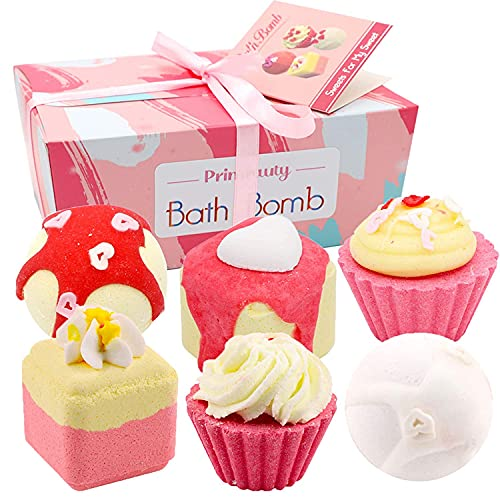 Natural Bath Bombs Gift Set for Kids 6Pcs with Assorted Cake Shapes, Handmade Salt Bath Bombs Kit with Rich fizzies , Best Spa Bath Bomb Birthday Gift for Boy&Girl