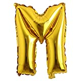 16' inch Single Gold Alphabet Letter number Balloons Aluminum Hanging Foil Film Balloon Wedding Birthday party decoration banner Air Mylar Balloons (16 inch Gold M)