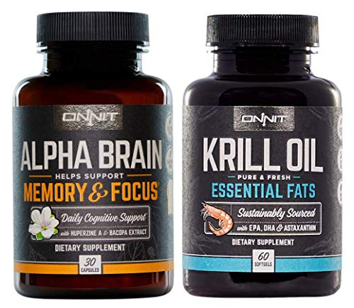 ONNIT Brain Health Stack - Alpha Brain 30ct + Krill Oil 60ct