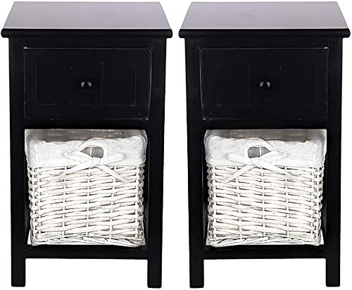 Quieting 2pcs 11 x 12 x 18 Inch Assembled Bedside Tables Black With Shabby Chic Wicker Basket Unit Drawers Cabinet Storage Bathroom Table