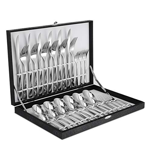 Velaze Besteck Besteck Set aus rostfreiem Edelstahl mit 6*Messer/Gabeln/Löffel/Kaffeelöffel als Geschenk spülmaschinefest (30A)