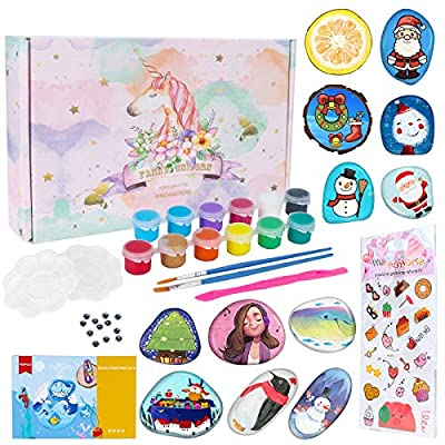 Rock Painting Kit for Kids, Creative Art Painting Rock Set & DIY Craft Toys- Includes 10 Rocks & 12 Waterproof Paints, Best Gifts for Girls & Boys Ages 4-12