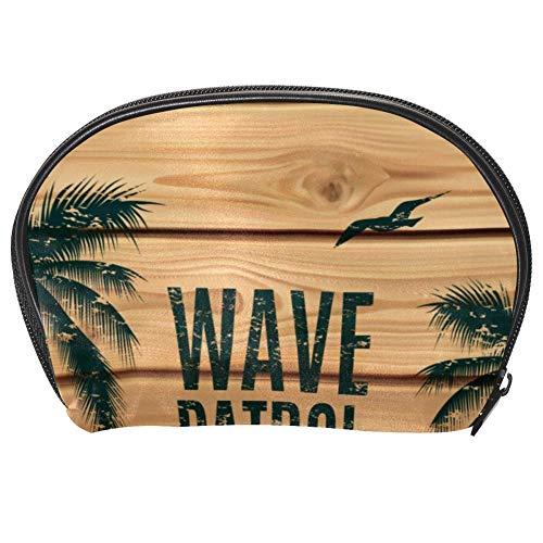 Bennigiry Trousse de toilette multifonction en forme de van de surf avec palmiers en bois et planche de maquillage pour femme