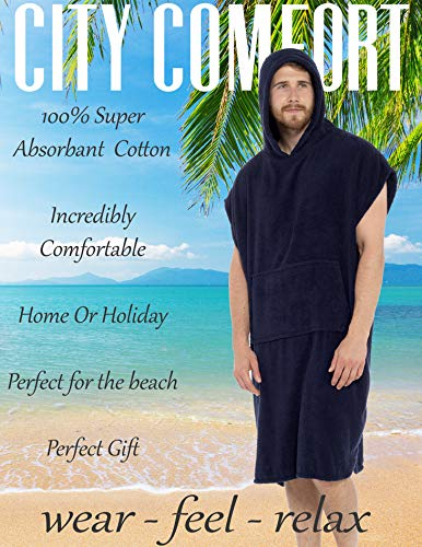 CityComfort Adults Hooded Towel Poncho   100% Cotton Changing Robe with Pocket   Unisex Hooded Towelling Poncho, Ideal for Holidays, Swimming, Surfing, Beach, Bathing, Travel Towel (S/M, Navy)