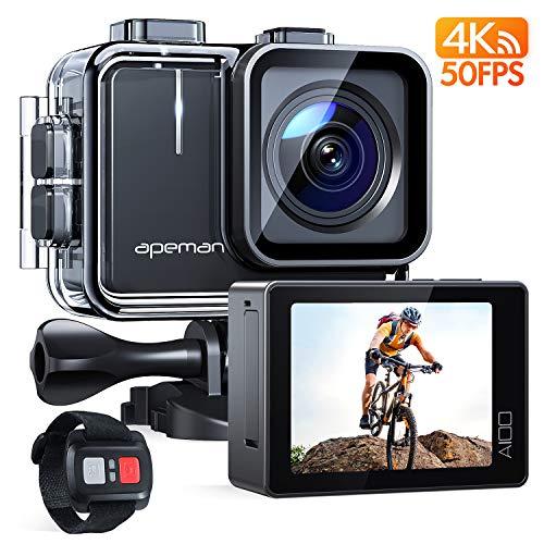 APEMAN Action Cam A100S, Echte 4K 50fps WiFi 20MP Touchscreen Unterwasserkamera Digitale wasserdichte 40M Helmkamera (2.4G Fernbedienun, 2x1350mAh verbesserten Batterien)