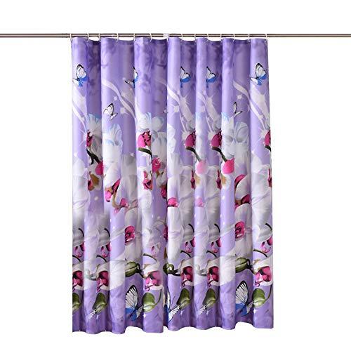 Tissu Polyester Coloré Colibri Fleurs Rideau de douche Liner salle de bain Tapis