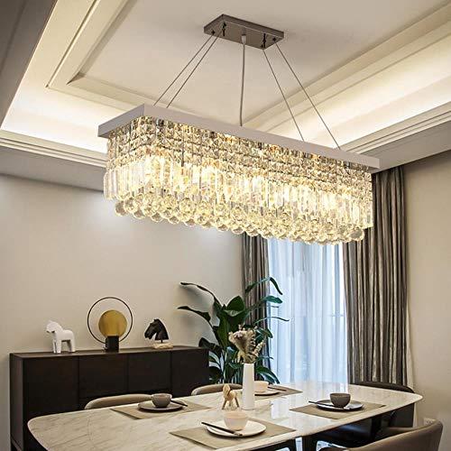 loonju LED rettangolare lampadario di cristallo Cucina Sala da pranzo Ristorante Maria Teresa cristallo lampadario Hall Hotel di lusso Lampadario, L60XW20XH100cm, Chrome Metal Body