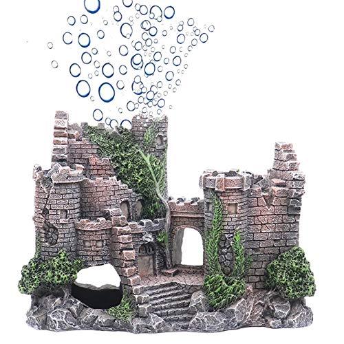 Ulifery Castle Aquarium Decorations Moss Fish Tank Ornaments with Bubbler for Betta Hideout