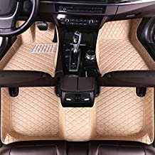 8X-SPEED Custom Car Floor Mats Fit for VW EOS 2005-2016 Full Coverage All Weather Protection Waterproof Non-Slip Leather Liner Set Beige