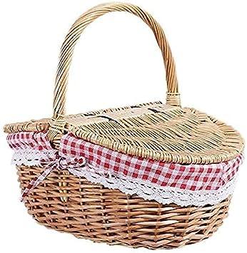 Cesta de picnic estilo rústico cesta de mimbre con tapa y asa y forros para picnic, fiestas y barbacoas
